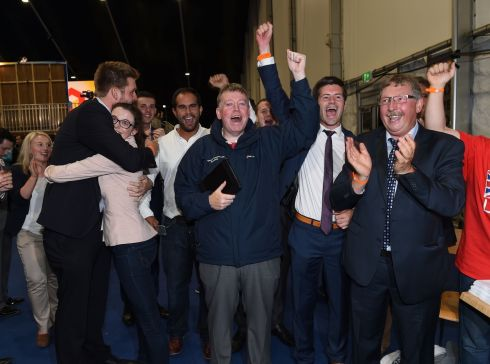 DUP MP and former Northern Ireland Finance Minister Sammy Wilson (R) leads celebrations for the LEAVE campaign at the EU referendum count on June 24, 2016 in Belfast, Northern Ireland.  Photograph: Charles McQuillan/Getty Images