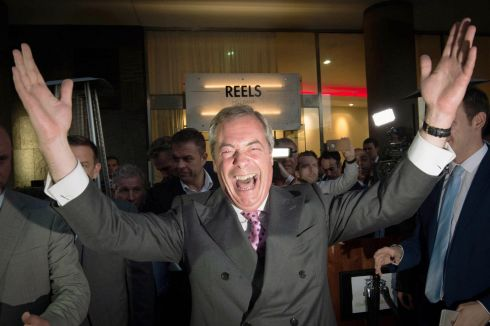 UKIP Leader Nigel Farage at the Leave.EU  party in London where he claimed victory for the Leave campaign in the EU referendum.  Photograph: Stefan Rousseau/PA Wire
