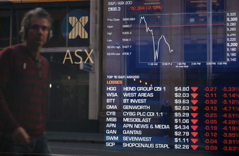A man looks at the fluctuation in the share prices through a stock exchange window in Sydney on June 24, 2016.  Australia's benchmark stock index sank almost four percent on June 24, 2016, despite lifting at the start of the day's trade, as results from Britain's European Union referendum pointed towards leaving the bloc.  Photograph: SAEED KHANSAEED KHAN/AFP