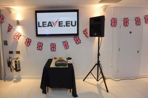 A cake waits to be cut at a Leave.eu party after polling stations closed in the Referendum on the European Union in London, Britain, June 23, 2016.  Photograph: Toby Melville /Reuters