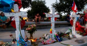 A row of crosses that make up part of a makeshift memorial for the victims of the Pulse night club shootings in Orlando, Florida. Photograph: Reuters/Carlo Allegri