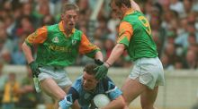 Dublin's Paul Bealin  is tackled by Meath's Trevor Giles and John McDermott in 1996. Photograph: Inpho