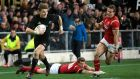 Beauden Barrett scored 26 points as New Zealand thrashed Wales in Dunedin. Photograph: AP