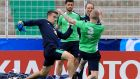 Séamus Coleman and James McClean challenge for the ball during a Republic of Ireland squad training session at Stade de Montbauron in Versaille. Photograph:  Donall Farmer/Inpho