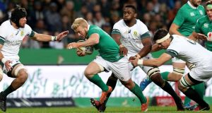 Sam Olding impressed in Ireland's midfield during the third Test against  South Africa in Port Elizabeth. Photograph: Billy Stickland/Inpho