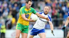 Donegal's Michael Murphy and Vinny Corey of Monaghan in action during the Ulster SFC semi-final at Breffni Park. Photograph:  Andrew Paton/Inpho