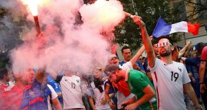 Ireland and France fans gather in Lyon ahead of the match. Photograph: Wolfgang Rattay/Reuters