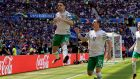 Robbie Brady celebrates with Republic of Ireland team-mate Stephen Ward  after scoring from the penalty spot in the    European Championship Round Of 16 match at  Parc Olympique Lyonnais in Lyon. Photograph: Donall Farmer/Inpho