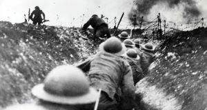 British troops go over the top from the trenches in  the Battle of the Somme. Photograph: Popperfoto/Getty