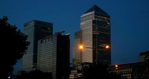 London's financial district of Canary Wharf. Photograph: Reuters
