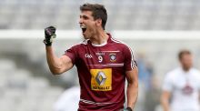 Westmeath's Denis Corroon celebrates at the final whistle. Photograph: Ryan Byrne/Inpho