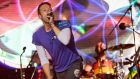 Chris Martin and Coldplay perform on the Pyramid Stage during the Sunday night of Glastonbury. Photograph: Andrew Cowie/EPA