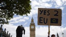 A demonstrator holds a placard during a protest against the outcome of the Brexit referendum. There is no reason to let the extremists on both sides of the debate dictate how this story has to end.