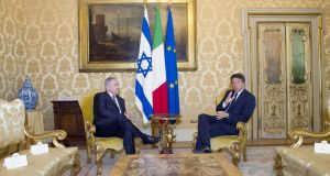 Israel's prime minister Binyamin Netanyahu with his Italian counterpart Matteo Renzi at Chigi Palace in Rome, where Mr Netanyahu announced a restoration of Israel's full diplomatic relations with Turkey. Photograph: EPA/Tibero Barichelli/Palazzo Chigi press office