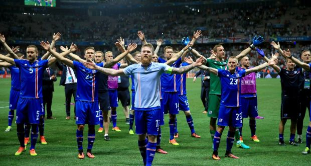 61c27622a Iceland s Aron Gunnarsson leads the celebrations on the pitch at Stade de  Nice after beating England