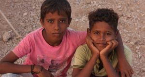 Yemeni boys in the refugee camp prove an energetic bunch. Photograph: James Jeffrey
