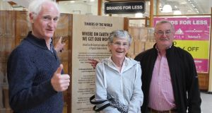 Environmentalist Duncan Stewart (left) launching the Timbers of the World collection showing at the Outlet Centre in Killarney, Co Kerry, in May. The exhibition was organised by forestry campaigner Tom Roche of the Just Forests campaign group (not pictured).