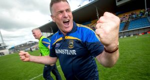 Liam Kearns celebrates after Tipperary's win over Cork in the Munster football championship semi-finals. Photograph: Inpho