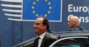 French president François Hollande arriving at the EU Summit in Brussels on June 28th. Photograph: Pascal Rossignol/Reuters