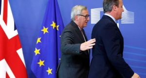 European Commission president Jean-Claude Juncker and David Cameron in Brussels. The British prime minister says the UK wants to retain access to the single market.  Photograph: Francois Lenoir/Reuters