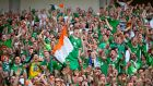 Irish fans cheer after the  match between France and Ireland at Stade de Lyon in Lyon. France won 2-1. Photograph: EPA