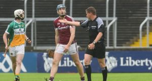 Galway's Conor Cooney: his red card in the Leinster GAA Hurling Senior Championship semi-final against Offaly has been rescinded, so he will be free to play in Sunday's showdown with Kilkenny. Photograph: Tom Beary/Inpho