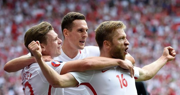 Poland's Jakub Blaszczykowski celebrates opening the scoring against Switzerland in the last 16 of the competition.Photograph: Philippe Desmazes/AFP/Getty Images