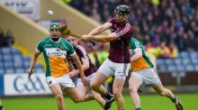 Galway's Joseph Cooney scores a point against Offaly in the Leinster hurling championship. Photograph: Tom Beary/Inpho