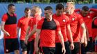 Poland players take part in a training session at Centre Robert Louis Dreyfus, in Marseille. Photograph: EPA