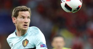 Belgium defender Jan Vertonghen is facing eight weeks out after tearing ankle ligaments. Photograph: Epa