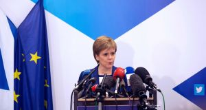 Scotland's first minister Nicola Sturgeon delivers a speech during a media conference at the Scotland House in Brussels. Photograph: Geoffroy Van der Hasselt/AFP/Getty Images
