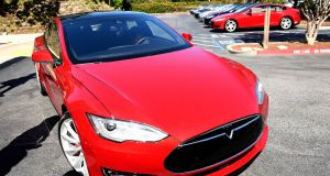 A Tesla Motors Model S car which Joshua Brown was travelling in when he died. Photograph: EPA