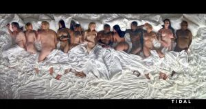 Kanye's real deal or lookalikes? George W Bush, Anna Wintour, Donald Trump, Rihanna, Chris Brown, Taylor Swift, Kim Kardashian, Ray J, Amber Rose, Caitlyn Jenner and Bill Cosby with the star in the video