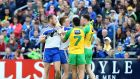 Donegal and Monaghan players scuffle at Breffni Park.  Photograph: Andrew Paton/Inpho