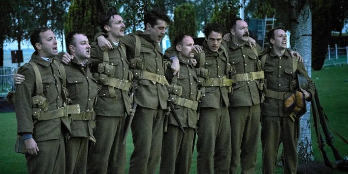 Members of the cast: The Abbey Theatre performs iconic Frank McGuinness play at the Ulster Memorial Tower in Thiepval (Northern France) as part of the official centenary commemorations of the Battle of the Somme. Observe the Sons of Ulster Marching towards the Somme is on tour in Northern Ireland in July before arriving at the Abbey Theatre in August. Tickets from abbeytheatre.ie. Photos by Ros Kavanagh. A co-production between the Abbey Theatre, Citizens Theatre, Headlong and Liverpool Everyman & Playhouse.