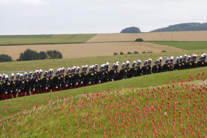 THURSDAY: Members of the St Cyr military school march one day before the ceremony to mark the centenary of the Battle of the Somme at the Thiepval monument, in Thiepval, France. Photograph: Thibault Van Der Mersch/EPA