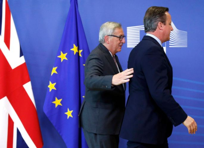 TUESDAY: Britain's Prime Minister David Cameron and European Commission president Jean-Claude Juncker arrive at the EU summit in Brussels, Belgium. Photograph: Francois Lenoir/Reuters