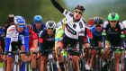 Sam Bennett  celebrates winning stage two of the 2015 Arctic Race of Norway. Photograph: Bryn Lennon/Getty Images