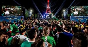 Republic of Ireland fans in Paris ahead of the opening match against Sweden. Photograph: INPHO/James Crombie