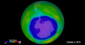 University of Leeds image  showing the hole in the ozone layer over Antarctica, on October 2nd, 2015, which appears to be healing, say scientists. Photograph: NASA/Goddard Space Flight Center/PA Wire