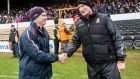 Galway's manager Michael Donoghue shakes hands with Kilkenny boss  Brian Cody after the league encounter in March. Photograph: James Crombie/Inpho