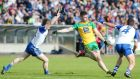 Donegal's Patrick McBrearty gets his shot away as the Monaghan defence close on him during the Ulster SFC semi-final replay at Breffni Park. Photograph: Jonathan Porter/Inpho/Presseye/