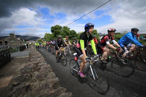 General view as the The Ring of Kerry Charity Cycle passed through Sneem Village over the weekend.  Photograph: Nick Bradshaw