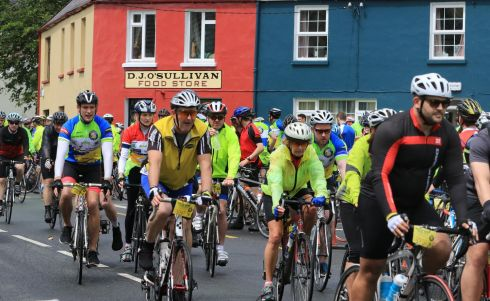 The Ring of Kerry Charity Cycle passed through Sneem Village over the weekend.  Photograph Nick Bradshaw