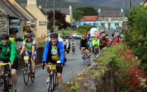Sean Kelly MEP taking part in the The Ring of Kerry Charity Cycle in Sneem Village over the weekend.  Photograph: Nick Bradshaw