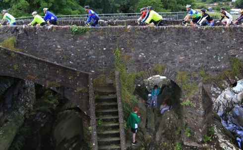 Riders crossing the Sneem Bridge during the The Ring of Kerry Charity Cycle over the weekend.  Photograph: Nick Bradshaw