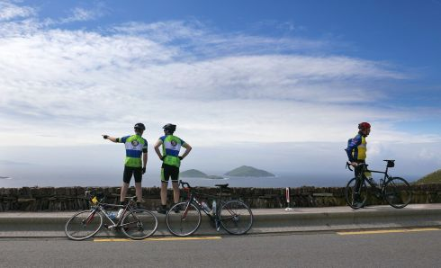 Cyclists admiring the view from Coomakista, talking part in the 33rd Annual Ring of Kerry Charity Cycle, the biggest one day charity fundraising event in Munster, attracting thousands of leisure cyclists completing 180km of specular Kerry Landscape, while at the same time fundraising for Kerry based and national charities. Photograph: Valerie O'Sullivan
