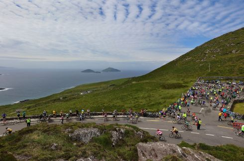 Cyclists at Coomakista, talking part in the 33rd Annual Ring of Kerry Charity Cycle.  Photograph: Valerie O'Sullivan