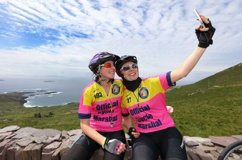 Cyclists Oonagh Mahon and Sarah Devlin, talking part in the 33rd Annual Ring of Kerry Charity Cycle.  Photograph: Valerie O'Sullivan