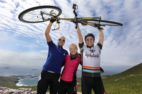 Cyclists Billy Cartildge, Kasia Jukubina, Seamus Higgins, Tralee, talking part in the 33rd Annual Ring of Kerry Charity Cycle.  Photograph: Valerie O'Sullivan